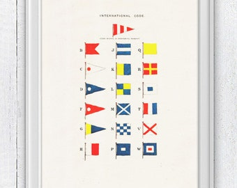 Nautical code flags -Wall decor poster-  sea life print- Nautical Yatching poster SPN042