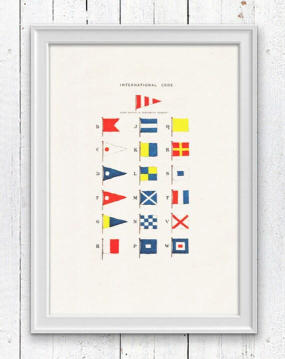 Nautical code flags -Wall decor poster-  sea life print- Nautical Yatching poster SPN042