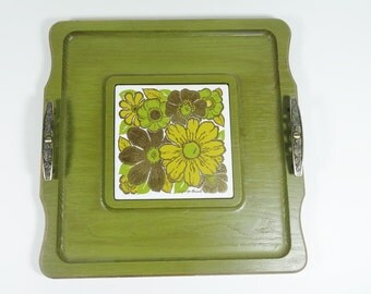 1960s Georges Briard floral Tray
