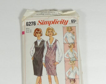 Simplicity 6276 - Vintage 1965 Pattern - Misses Blouse with Four Necklines and Jumper - Size 14