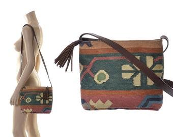 Vintage Southwestern Indian Kilim Leather Crossbody Bag 80s 1980s Boho India Tribal Ethnic Tapestry Woven Shoulder Hippie Bag