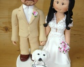 Personalised Wedding Cake Topper - Bride and Groom with Pet Dog