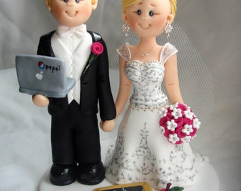 IT Personnel Groom & Teacher wedding cake topper- Custom made bride and groom wedding cake topper