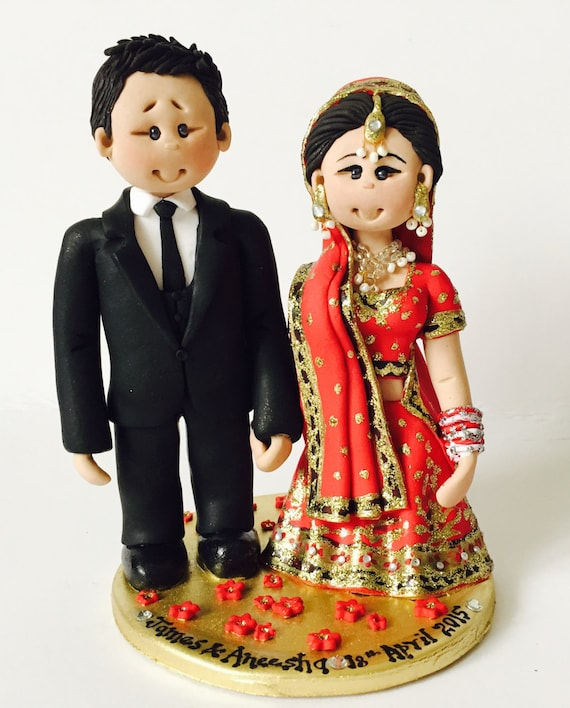 indian wedding cake toppers bride and groom uk personalised asian indian sikh hindu muslim saree 16425