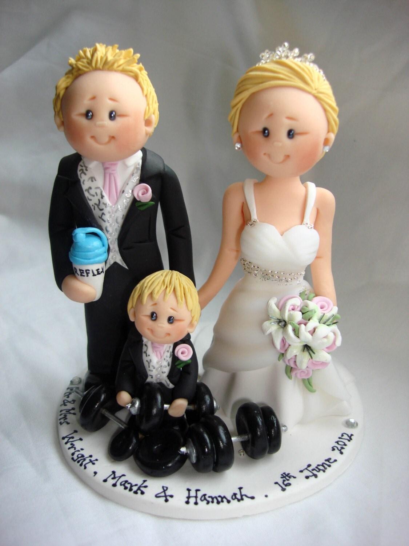 Personalised Bride & Bodybuilder Groom wedding cake topper