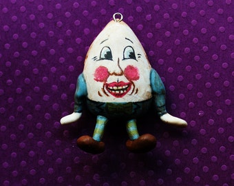 Handmade Polymer Clay Vintage Humpty Dumpty Necklace