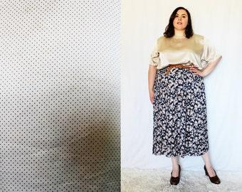 Plus Size - Vintage Satin Tan Polka Dot Blouse (Size 22W)