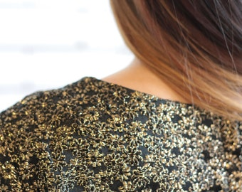 Gold Thread Tunic / Crop Vintage Blouse