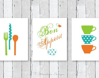 Modern Kitchen Art Print Set, Bon Appetit, Cups Utensils // Set of (3) Prints; 5x7 OR 8x10 // Orange, Lime, Turquoise Kitchen Art - UNFRAMED