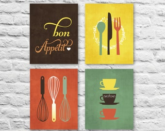 Modern Kitchen Art Prints - Bon Appetit, Set of (4) 4 x 6, 5 x 7 OR 8 x 10 // Brown, Burnt, Kiwi, Mustard // Kitchen Art - Unframed