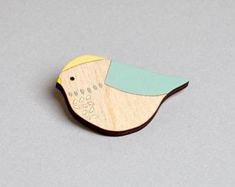 Wooden Bird Brooch - Bluetit