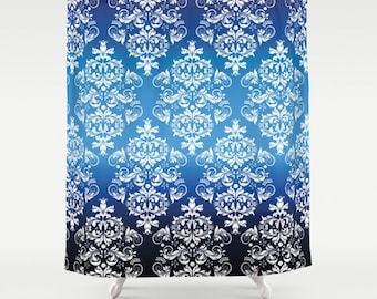 Blue Shower Curtain Floral Shower Curtain Art Curtain Abstract Curtain Vintage Pattern Geometric Pattern Shower Curtain IT Curtain 71x74