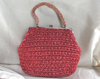1950/60s Strawberry Red Woven Raffia Handbag / GREAT SIZE