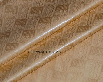 Best quality Guinea Brocade by the yard/ Bazin fabric, Blond Mist / African Brocade fabric / Quality pure cotton Damask Fabric B68