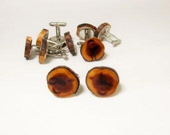 Juniper wood cufflinks. Wedding cufflinks.