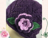 Ladies Hat Handknit Purple 3 tier flower leaf Button Caron Simply Soft