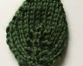 "Hand Knit Rose 2"" Leaf Sew-on Dark Sage Green Caron Simply Soft"
