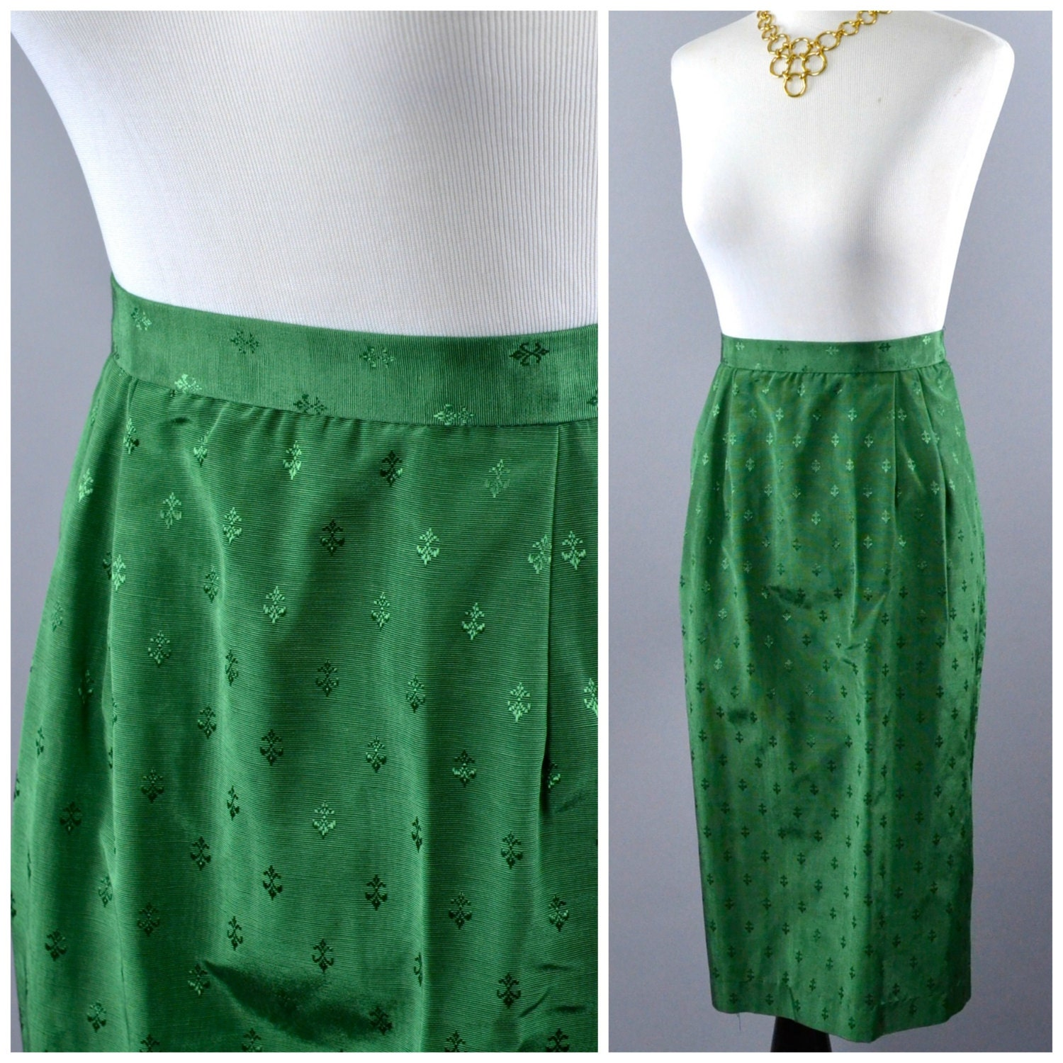 vintage emerald green pencil skirt by sassafrassxoxo on etsy