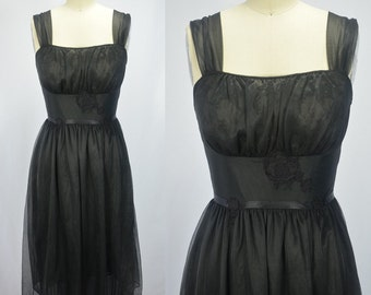 1950s Early 60s Charmode Black Nylon Chiffon and Lace Nighty
