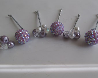 Lavender Crystal Bobby Pins, Pearl and Crystal Beads