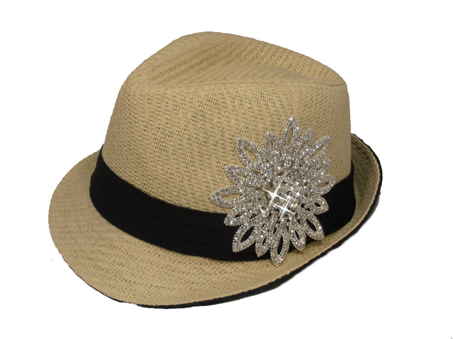 womens bling fedora hat by timetwochange on etsy