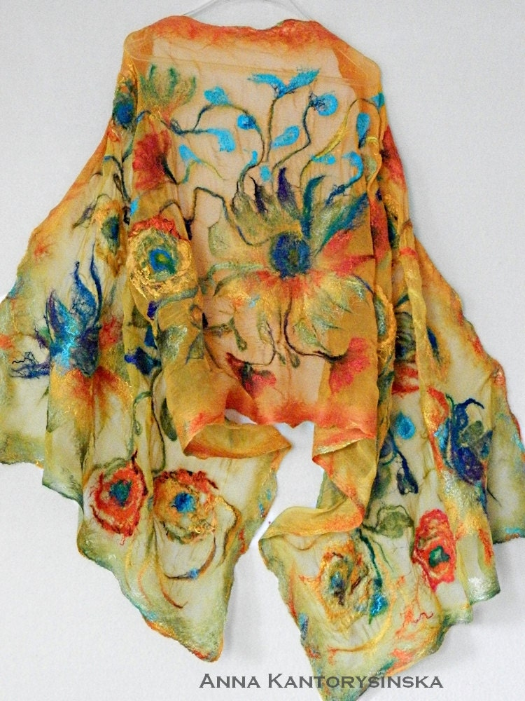 nuno felted silk scarf shawl sunflowers large by kantorysinska