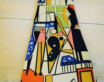Necktie 1960 Abstract tie modern mid-century great graphics wow Artists VINTAGE MENS TIE No2 Necktie antique vintage kitch cool retro man