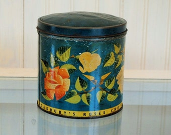teal Flower tin CADBURYS biscut tin MADE in ENGLAND vintage antique tin flowers pink yellow blue teal turquoise romantic shabby chic