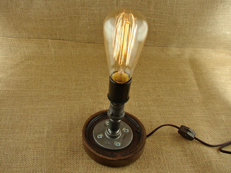 Industrial black iron pipe edison bulb lamp industrial for Black iron pipe lights