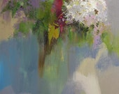 White lilacs flower painting, abstract still life painting, colorful floral painting