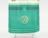 Fabric Shower Curtain  - Groovy - Aqua, Classic Retro VW bus camper, Original nature photography by RDelean Designs