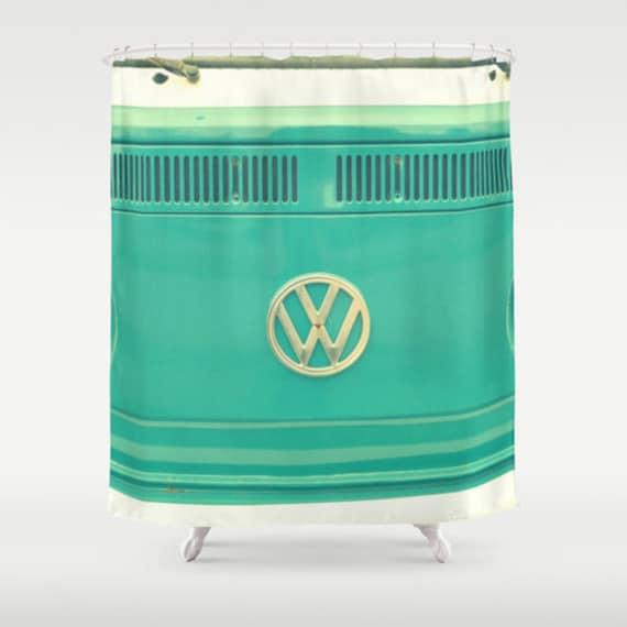 stoff duschvorhang groovy aqua classic retro vw bus. Black Bedroom Furniture Sets. Home Design Ideas