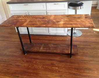 Vermont reclaimed barnwood entrance table or sofa table repurposed handmade