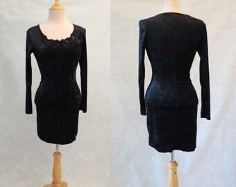 Black Stretch Velvet Dress