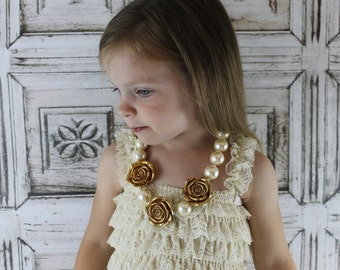 Gold Baby Girl Chunky Necklace, Vintage Ivory Matching Mother Daughter Girls Gumball Necklace Gold Flower Necklace 1st Birthday Wedding