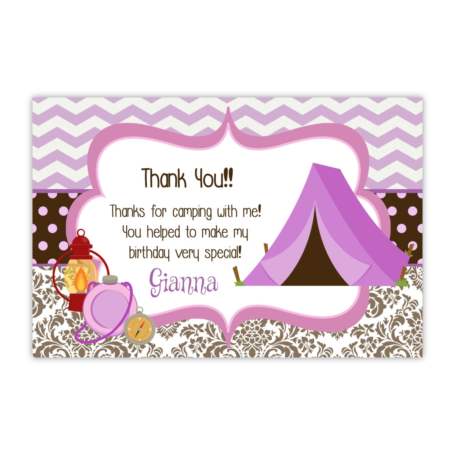 Camping Thank You Card Pink Purple Chevron Brown Damask
