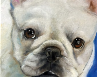 PRINT OF ORIGINAL French Bulldog frenchie  oil Pet Portrait dog art painting signed by artist Mary Sparrow of Hanging the Moon One of a Kind