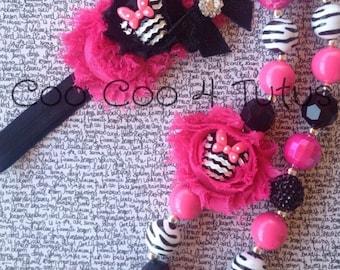 Pink and zebra minnie necklace