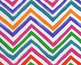 Multicoloured ZIG-ZAG 100% Cotton FABRIC - great for sewing your own curtains, dressmaking, edging sheets & duvets, quilting -Hand cut