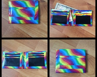 Rainbow and Black Duct Tape Wallet