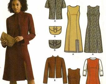 A Princess Seam Sleeveless Dress / Jumper, Open Front Jacket, and Fabric Purse Pattern for Women: Uncut - Sizes 4-6-8-10 ~ Simplicity 5451