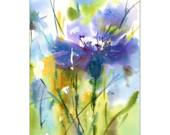 Cornflower - Original Watercolor Painting 7 5/8 x 10 7/8 inches Flowers