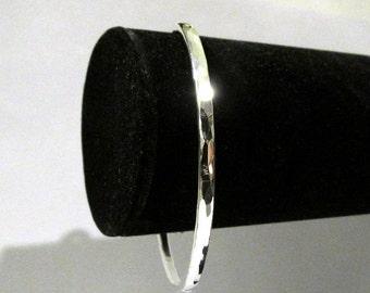 Handmade Hammered Silver Bangle Bracelet Thick Silver Bracelet Sterling Bangle Made to size