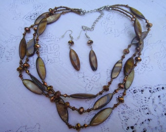 Beautiful mondern style boho glass crystal bronze beads with brown shell 3 layer bib necklace earring matching set copper