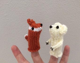 Fox &  Polar Bear Finger Puppets - Kids Toy - Finger Puppets - Penguin Finger Puppet - Polar Bear Finger Puppet