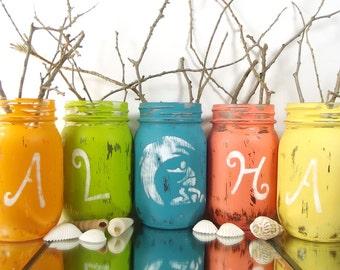 ALOHA // Beach Cottage Decor // Beach Home Decor // Colored Mason Jars // Coastal Decor Beach // Mason Jar Centerpieces // Coastal Decor