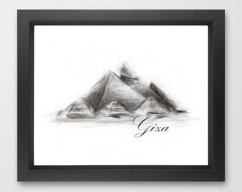 Pyramids of Giza, Egypt INSTANT DOWNLOAD, unique art from the world, world travel, simple art - Print Download