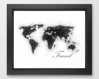 World Map I INSTANT DOWNLOAD, home decor, wall art, digital print, travel prints, world travel, love travel, for the home