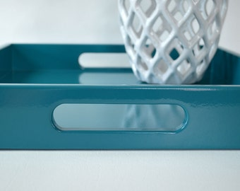 Teal 14 x 18 Lacquered Serving Tray, Coffee Table Tray, Teal Home Decor, Ottoman Tray