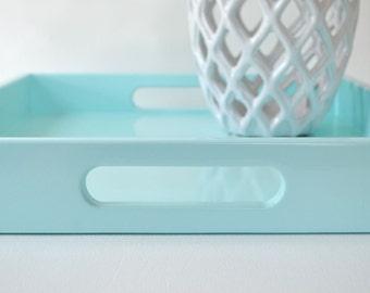 Serving Tray with Handles, Aqua Decor, Coffee Table Decor, Light Blue Tray, Ottoman Tray, Desk Accessories, Lacquer Tray